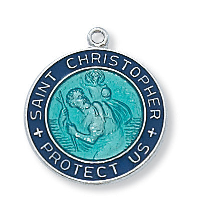 "St. Christopher Medal Sterling Silver with Blue Enamel and 18"" Rhodium Plated Chain"