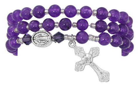 Amethyst Gemstone Twistable Full Rosary Wrap Bracelet Mother's Day Present Mother's Day Gift Mother's Day special item Mother's Day Twistable Full Rosary Wrap Bracelet