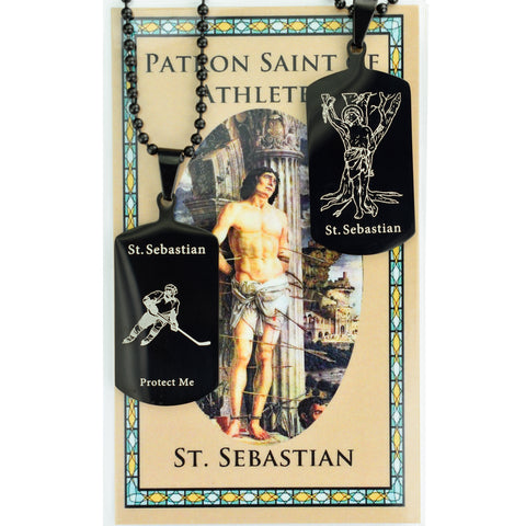 "St. Sebastian Reversible Hockey Tag with 22"" Adjustable Chain and Laminated Holy Card Set"