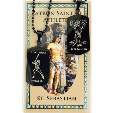 "St. Sebastian Reversible Baseball Tag with 22"" Adjustable Chain and Laminated Holy Card Set"