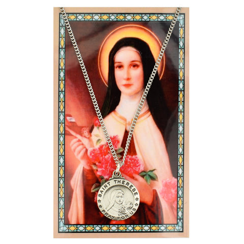 "St. Therese Circle Medal with 18"" Chain and Laminated Holy Card Set"