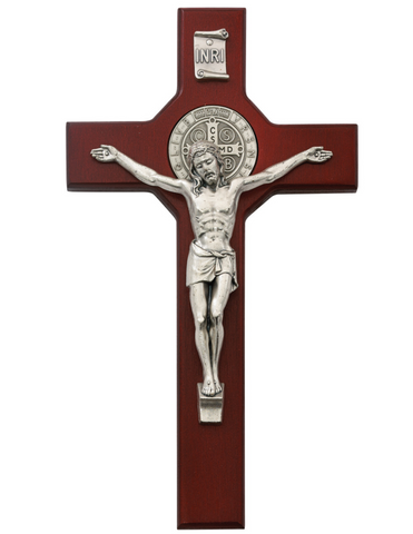 "10.5"" Cherry Crucifix with St. Benedict Medal"