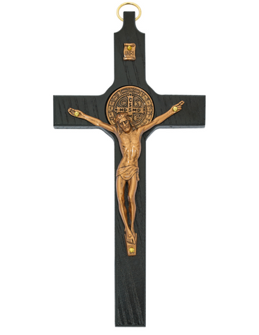 "8"" Black Copper Crucifix with St. Benedict Medal"
