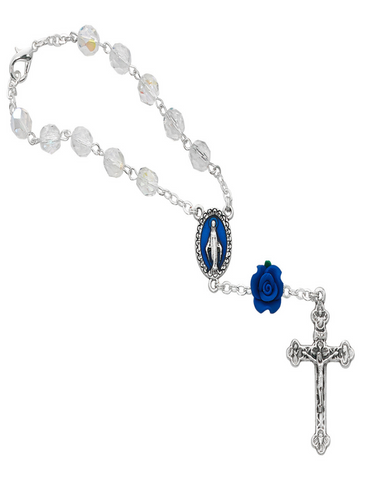 Crystal Auto Rosary with Blue Rose