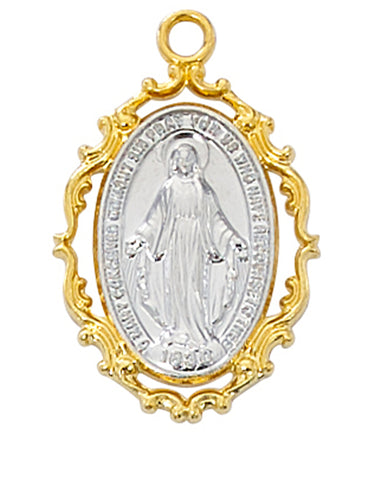 "Miraculous Medal Gold Over Sterling Silver with 18"" Gold Plated Chain"
