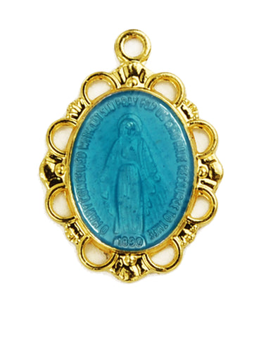 "Miraculous Medal Gold Over Sterling Silver with Blue Epoxy in 18"" Gold Plated Chain"