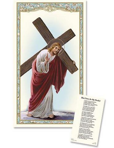 Christ with Cross - Laminated Holy Card Set of 25