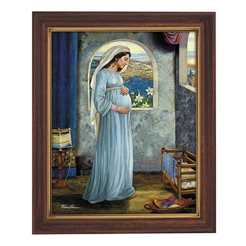 Blessed Mother Mary, Mother Of God Framed Print in Wood Tone