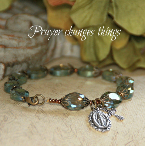 """Prayer Changes Things"" Rosary Bracelet with Mother Mary Medal and Ornate Cross"