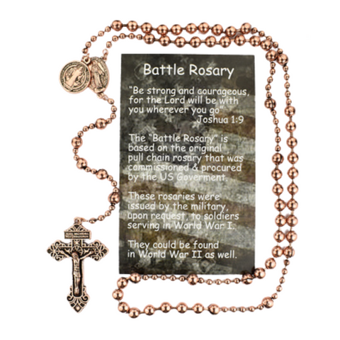 Copper Plated Battle Rosary with St. Benedict Medal Military Protection Armed Forces Protection Armed Forces Guidance