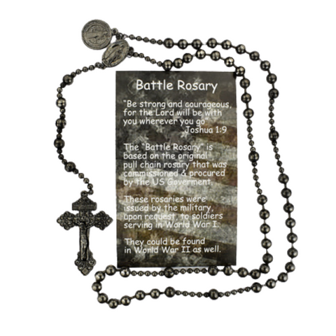 Gun Metal Battle Rosary with St. Benedict Medal