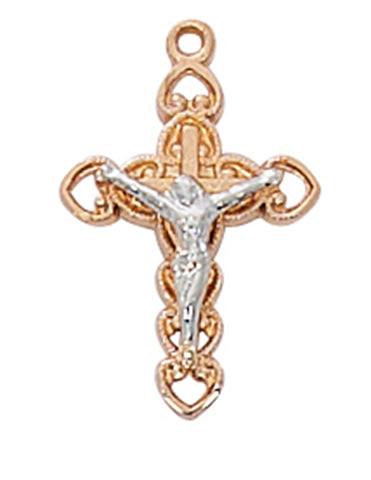 "Two-Tone Crucifix Rose Gold Over Sterling Silver w/ 18"" Gold Plated Chain"