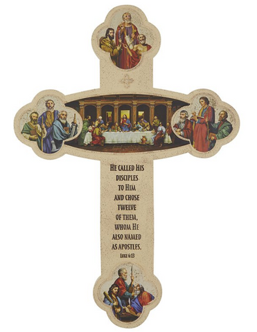 "12"" H The Last Supper in Apostles Cross"
