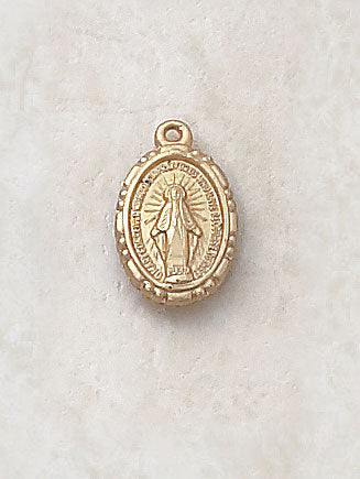 "Gold Miraculous Medal 24kt Gold Plate Over Sterling w/ 18"" Chain"