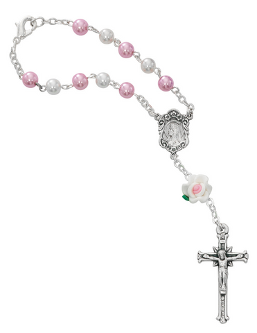Auto Rosary with White and Pink Beads