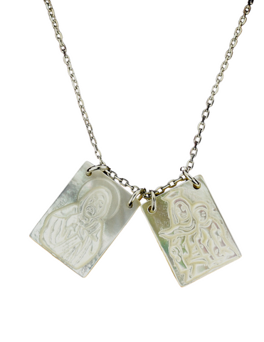 "Mother of Pearl Scapular with 18"" Adjustable Chain"