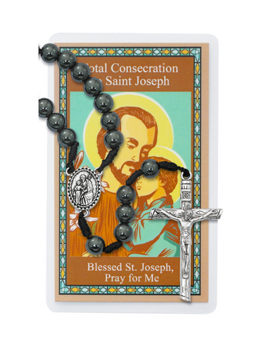 Total Consecration to St. Joseph 8mm Hematite Rosary and Prayer Card Saint Joseph Consecration Kit Total consecration to st joseph Total consecration to saint joseph Total consecration to st. joseph
