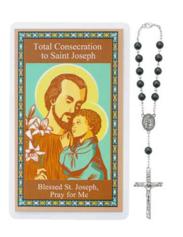 Total Consecration to St. Joseph 8mm Hematite Auto Rosary and Prayer Card Saint Joseph Consecration Kit Total consecration to st joseph Total consecration to saint joseph Total consecration to st. josephSaint Joseph rosary