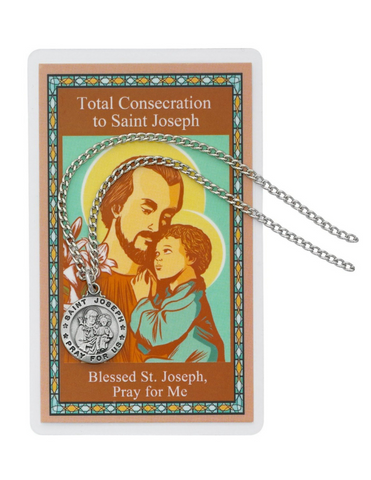 "TTotal Consecration to St. Joseph Medal with 24"" Chain and Prayer Card Total Consecration to St. Joseph Auto Rosary and Prayer Card"