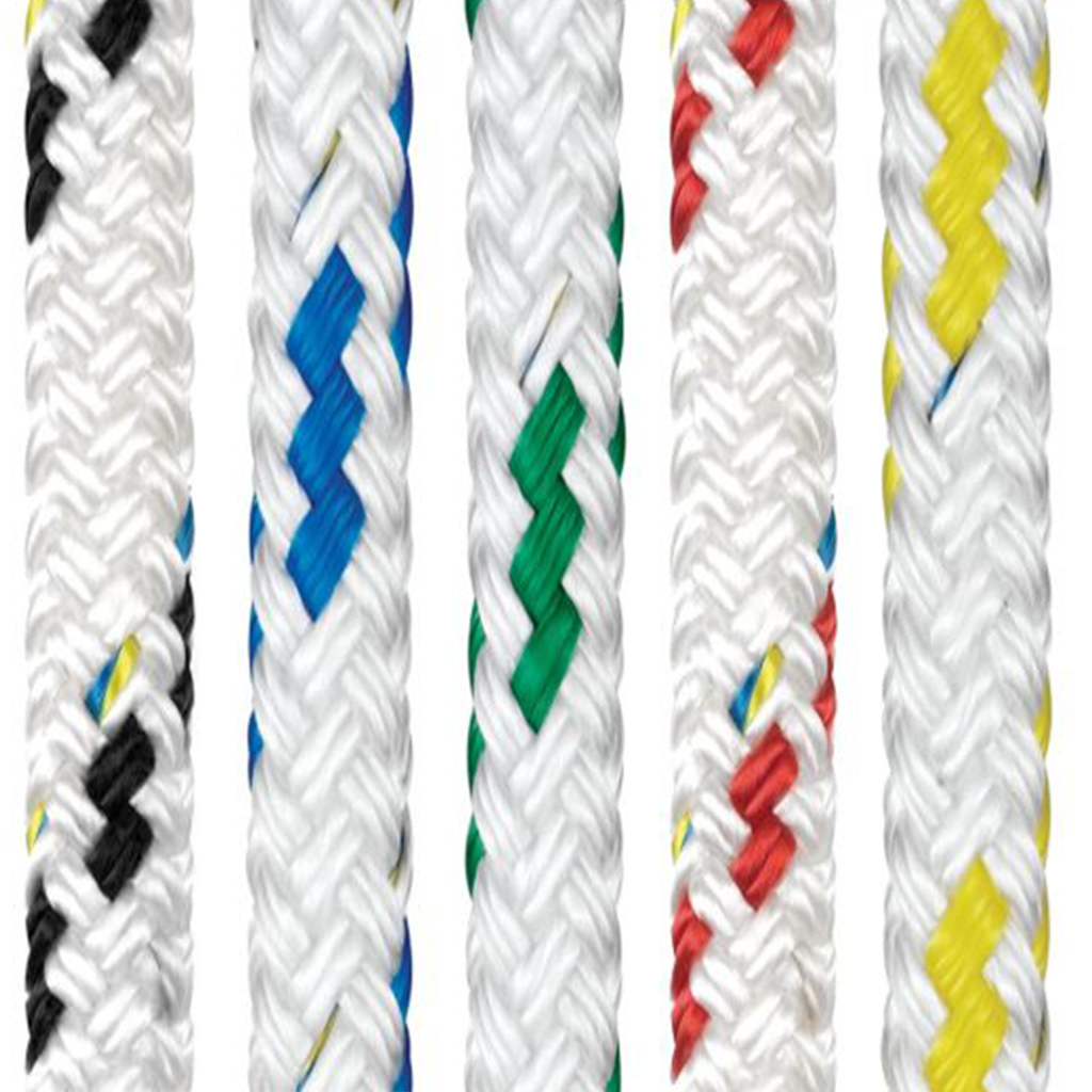 Braid on Braid Colour Fleck Rope - Black, Blue, Green, Red, Yellow