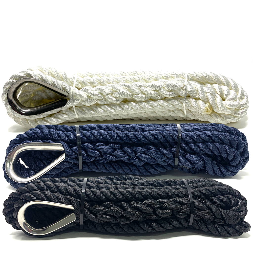 Pre-Spliced Three Strand Mooring Lines with Thimble Eye