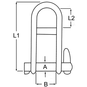 Stainless Steel Key Pin Shackle + Bar Diagram
