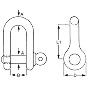 Stainless Steel Standard Dee Shackle Diagram