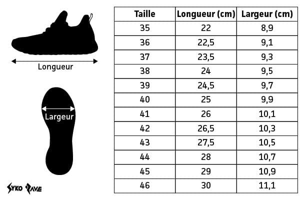 Guide des tailles Sneakers