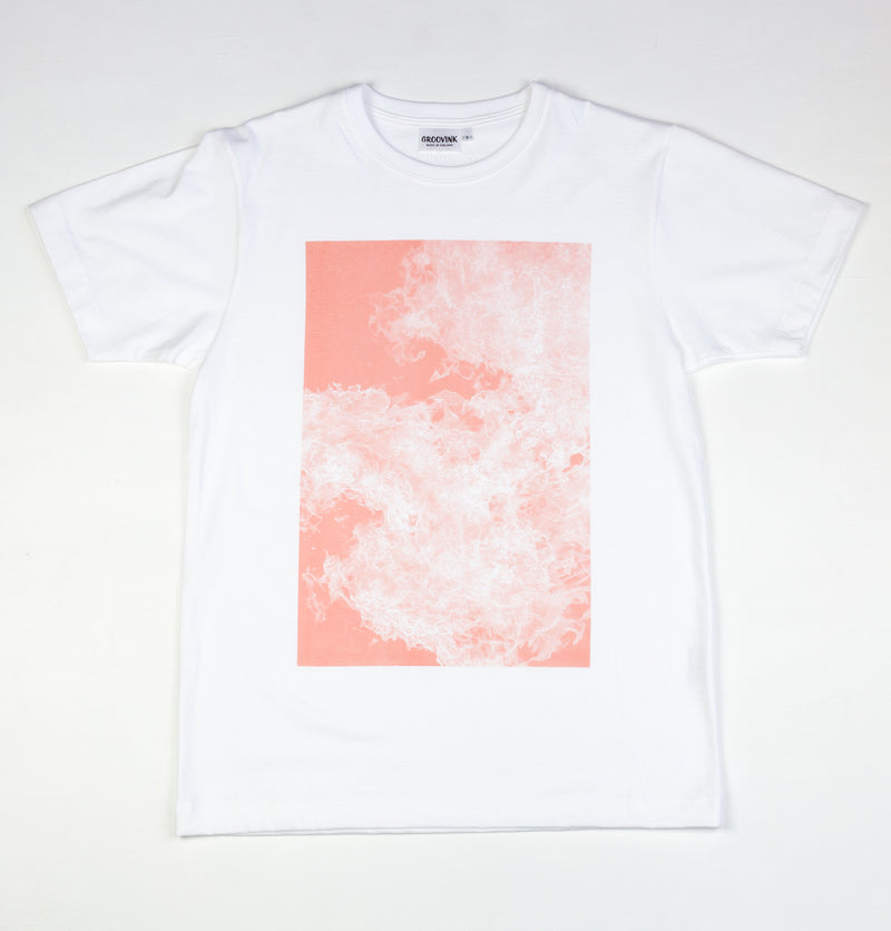 Flame in salmon, by David Muoz, on Groovink t-shirt