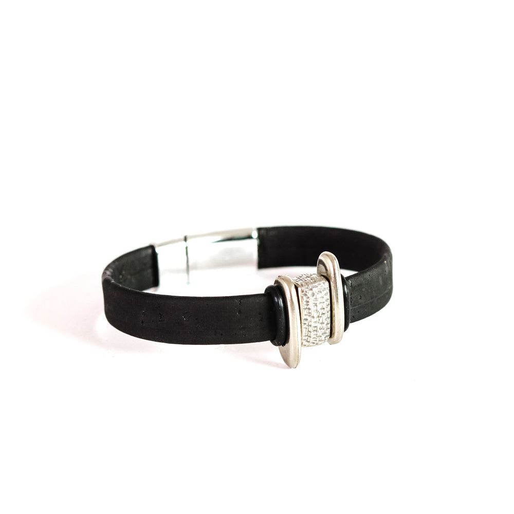 Black Cork with Silver and Offset Sliders Bracelet