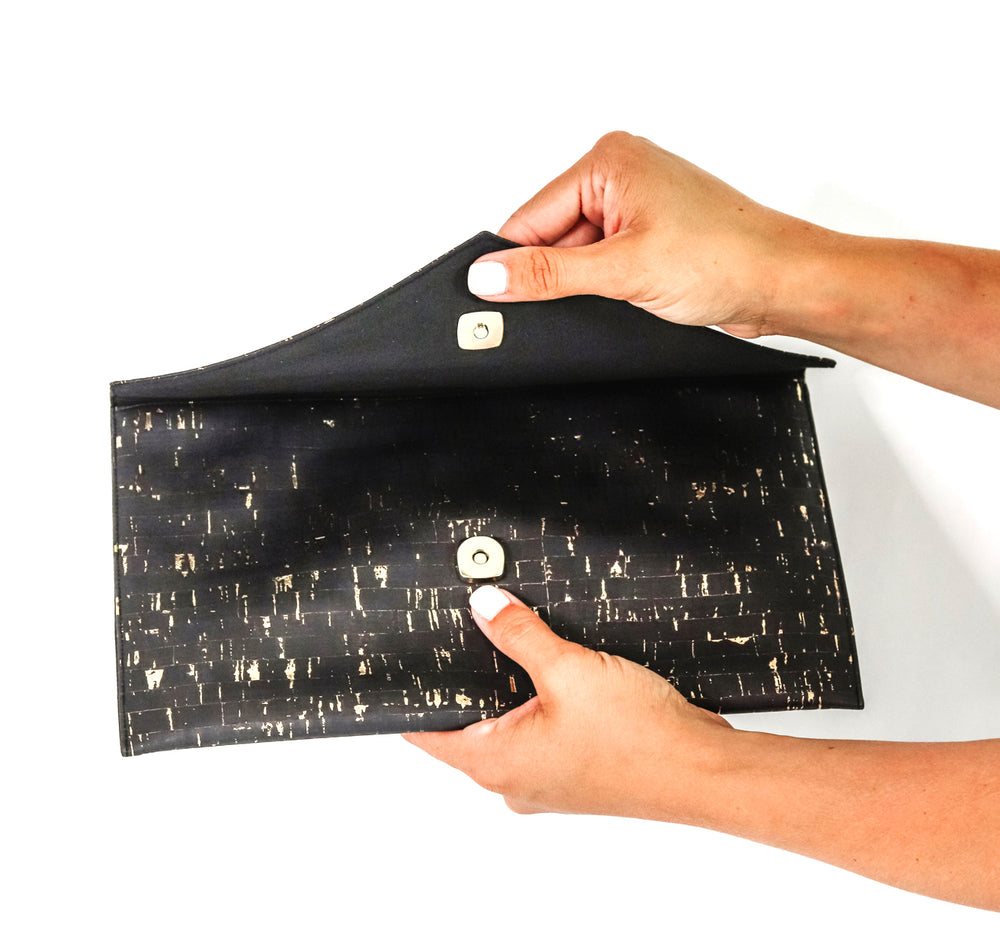 Clutch - Black Cork with Silver Accents