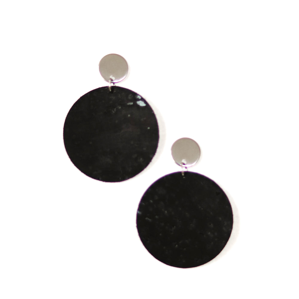 black cork circle earrings