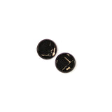 black cork with gold stud earrings