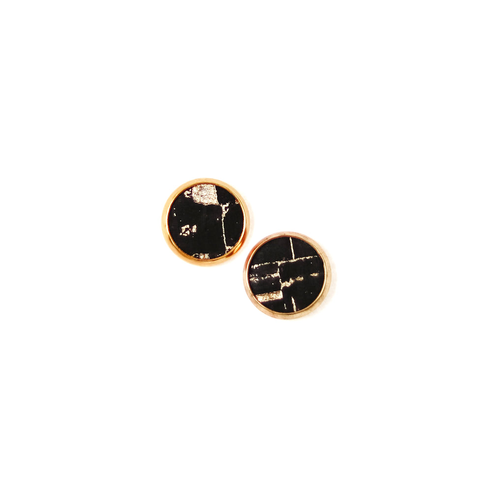 black and gold cork stud earrings