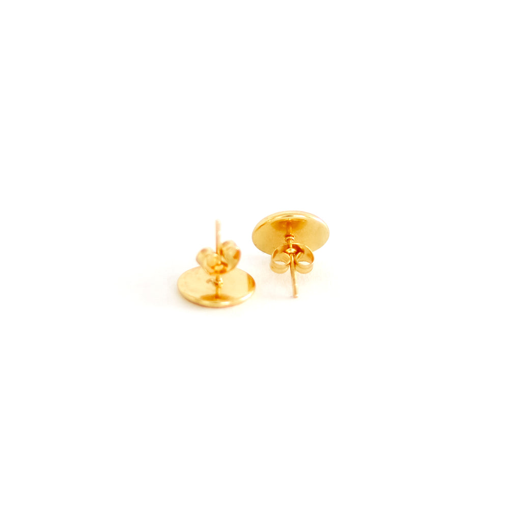cork stud earrings with gold