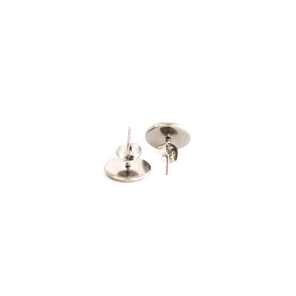 cork stud earrings with silver fleck