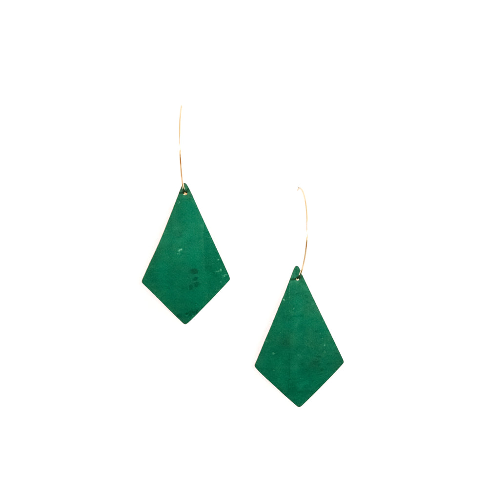 Emerald Cork Kites on Gold Hoops