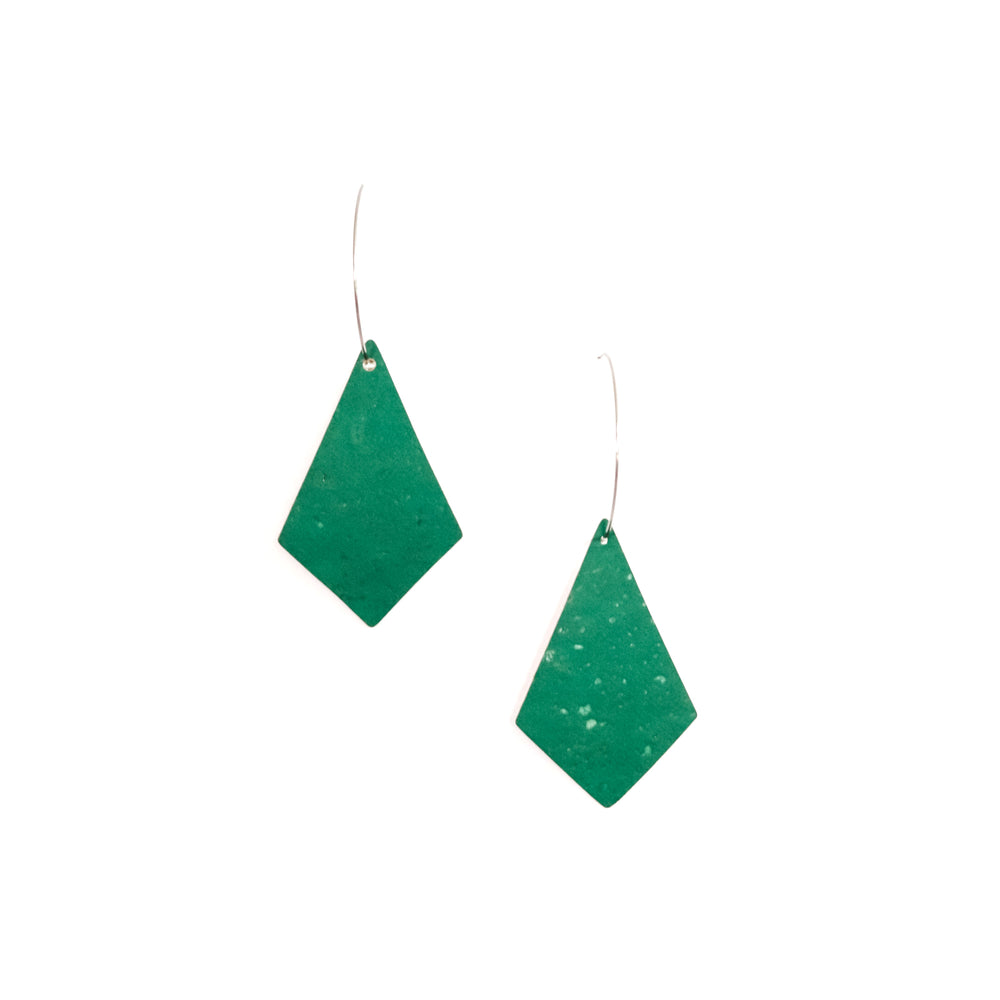 Emerald Cork Kites on Silver Hoops