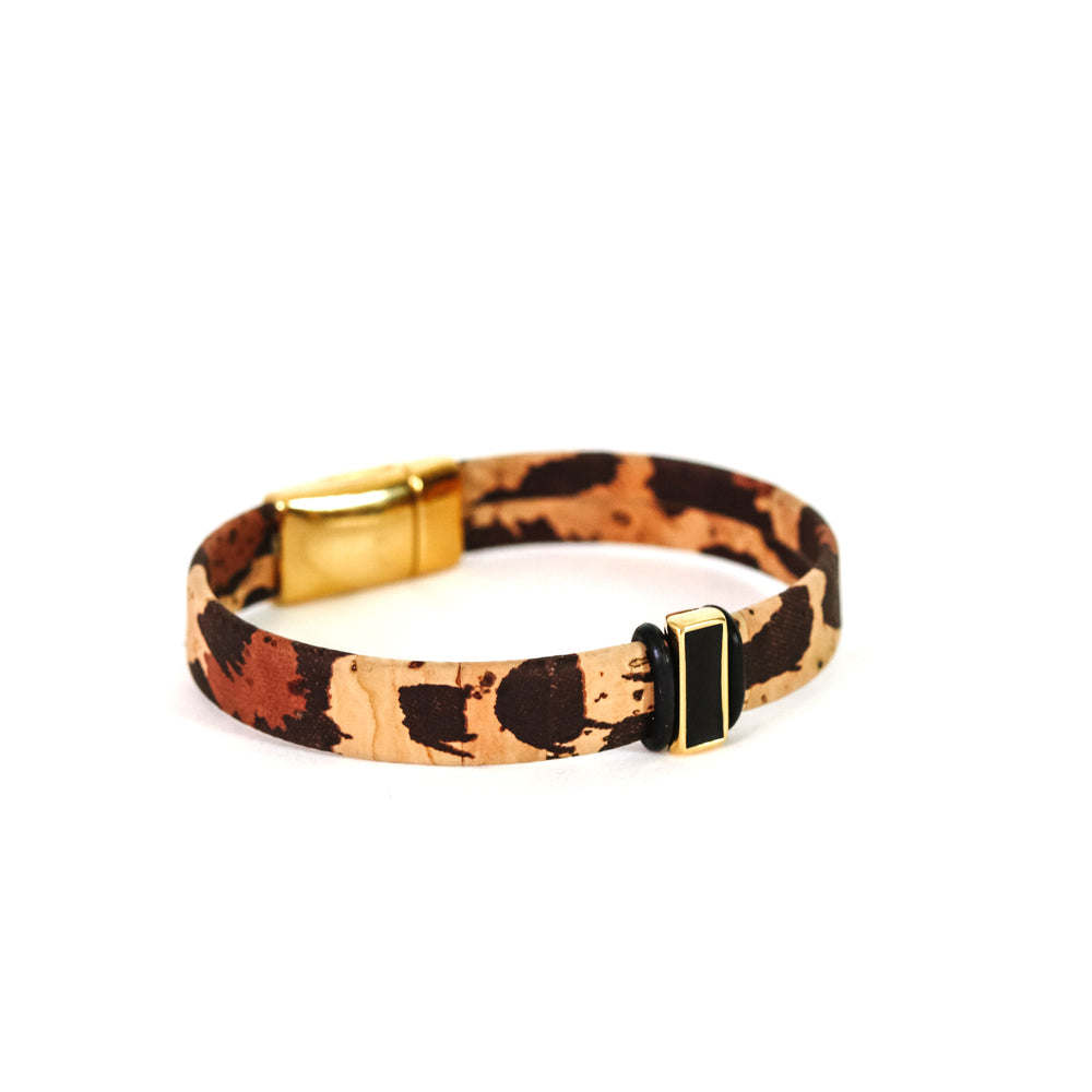 Leopard Print Cork with Black Slider Bracelet