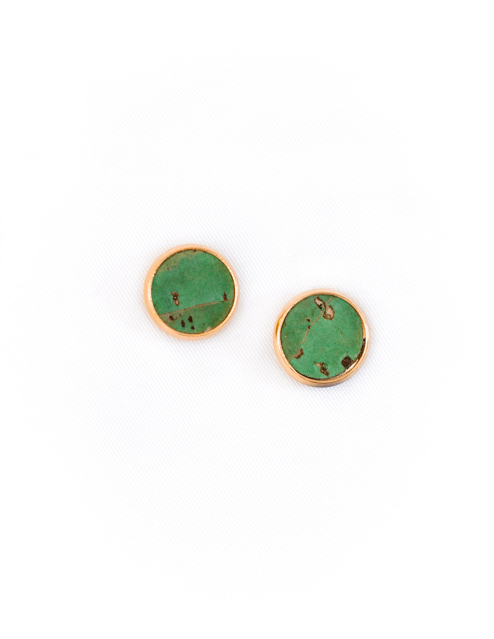 Meadow Green Cork Studs - Gold Setting