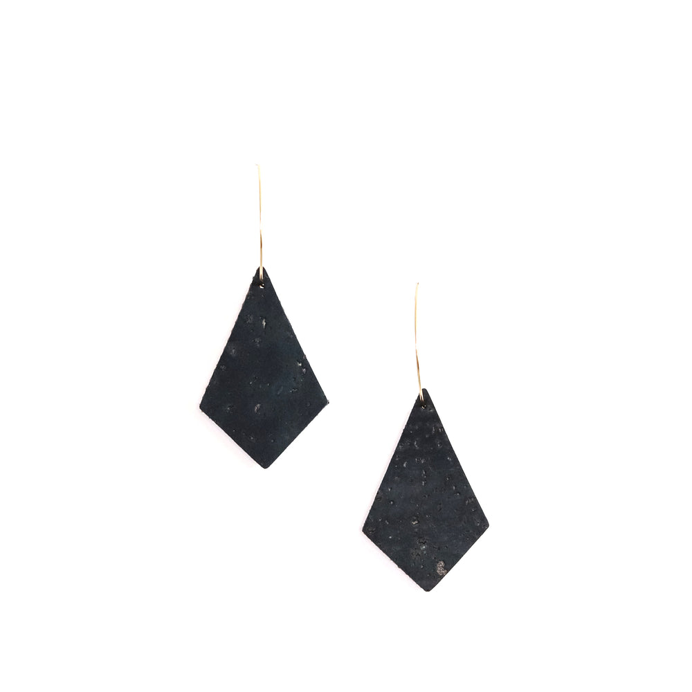 Navy Cork Kites on Gold Hoops