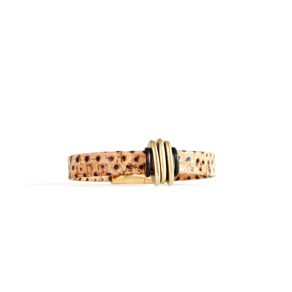 Snakeskin Print Cork with Offset Slider Bracelet