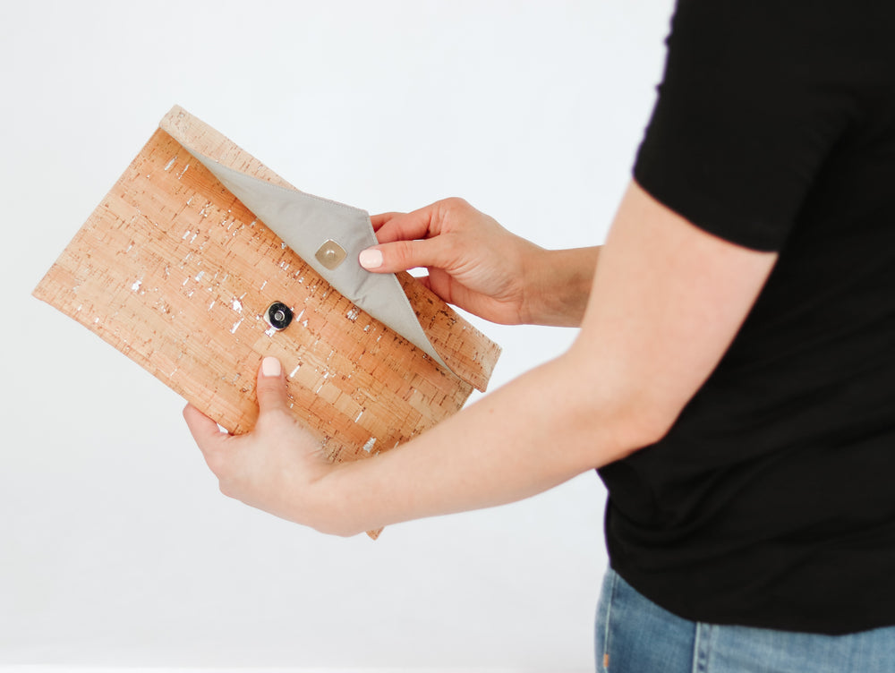Clutch - Natural Cork with Silver Accents
