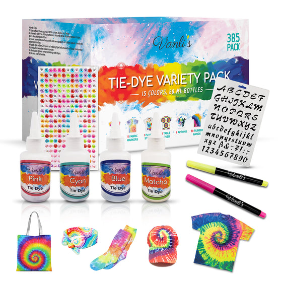 15 Colors Tie Dye Kit with 5 Fabric Markers, Stencil and 260 Adhesive Gem Stickers. 385 Variety Pack Complete with Aprons, Gloves, Rubber Bands and A Plastic Table Cover