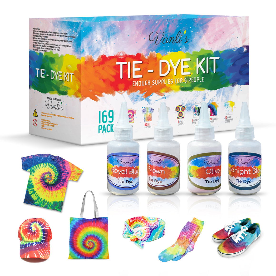 26 Colors Tie Dye Kit for Kids and Adults. 169 Pack Party Tie Die Supplies with Aprons, Gloves, Rubber Bands and Plastic Table Covers