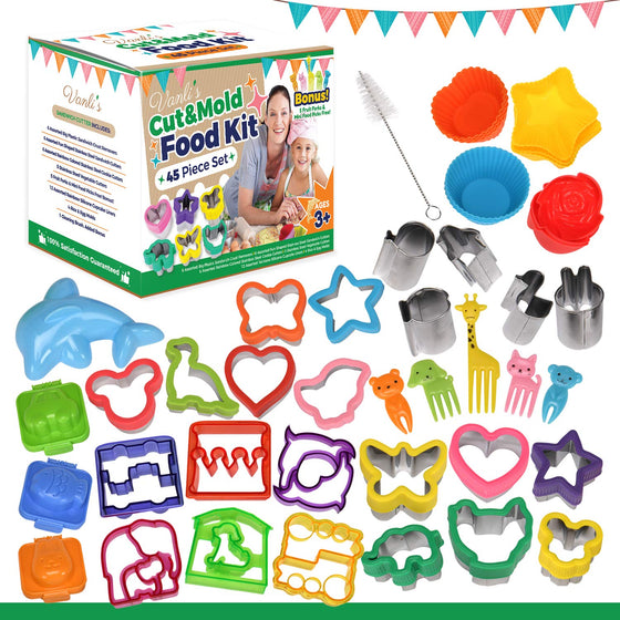 Vanli's Sandwich Cutters for Kids Bento Lunch Box | 45 Pcs in 1 Set|Includes Sandwich Crust, Vegetable & Small Cookie Cutters, Silicone Cupcake & Rice Molds, Fruit Forks, Picks & Cleaning Brush.