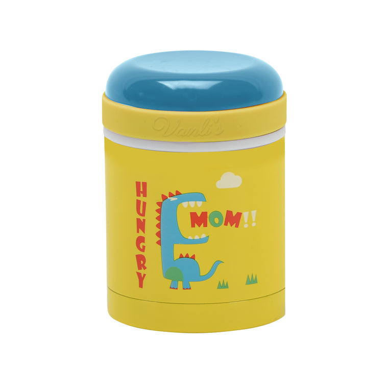 Vanli's Stainless-Steel Thermos Food Jar Yellow Dinosaur 10 oz