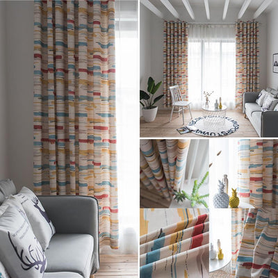 1*2.8m Abstract Striped Patio Door Window Curtain Grommet Top Drape Valance Home Curtain