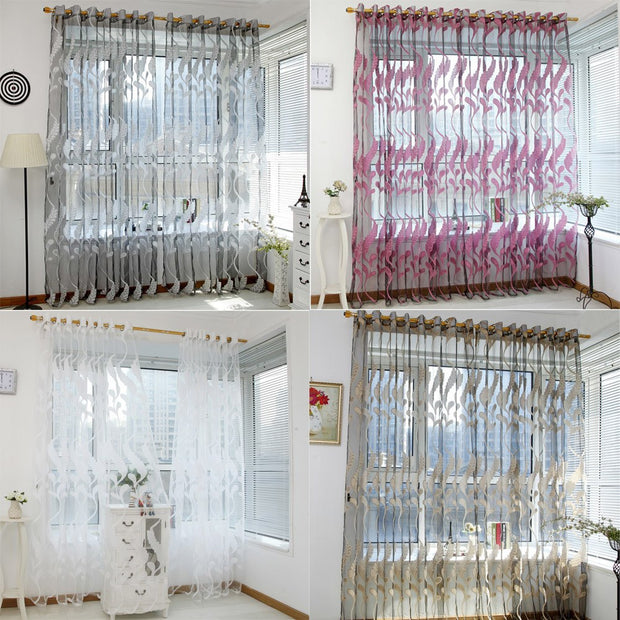 1 Panel Fabri Wheat Sheer Tulle Door Window Curtain Treatment Voile Drape Living Room Curtains Decorative Window Valance C#008