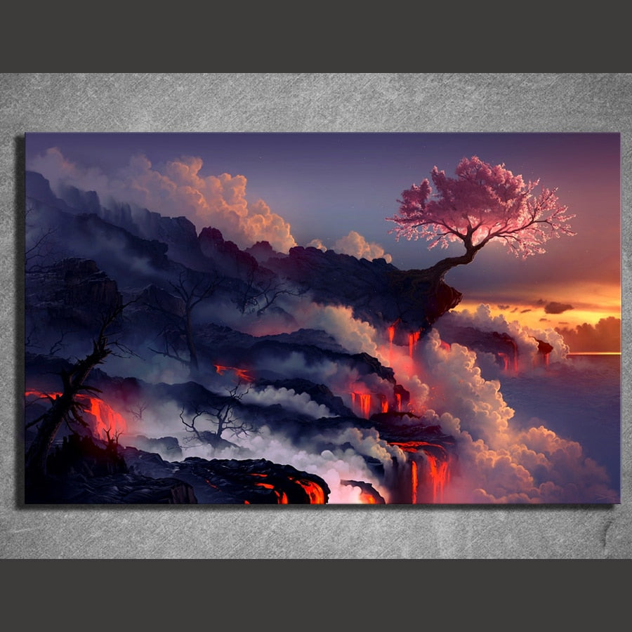 1 Piece Canvas Painting Fantasy Art Scorched Earth Lava Landscape Cherry Blossom Sunset Life Blossom Hd Picture Print Wall Decor